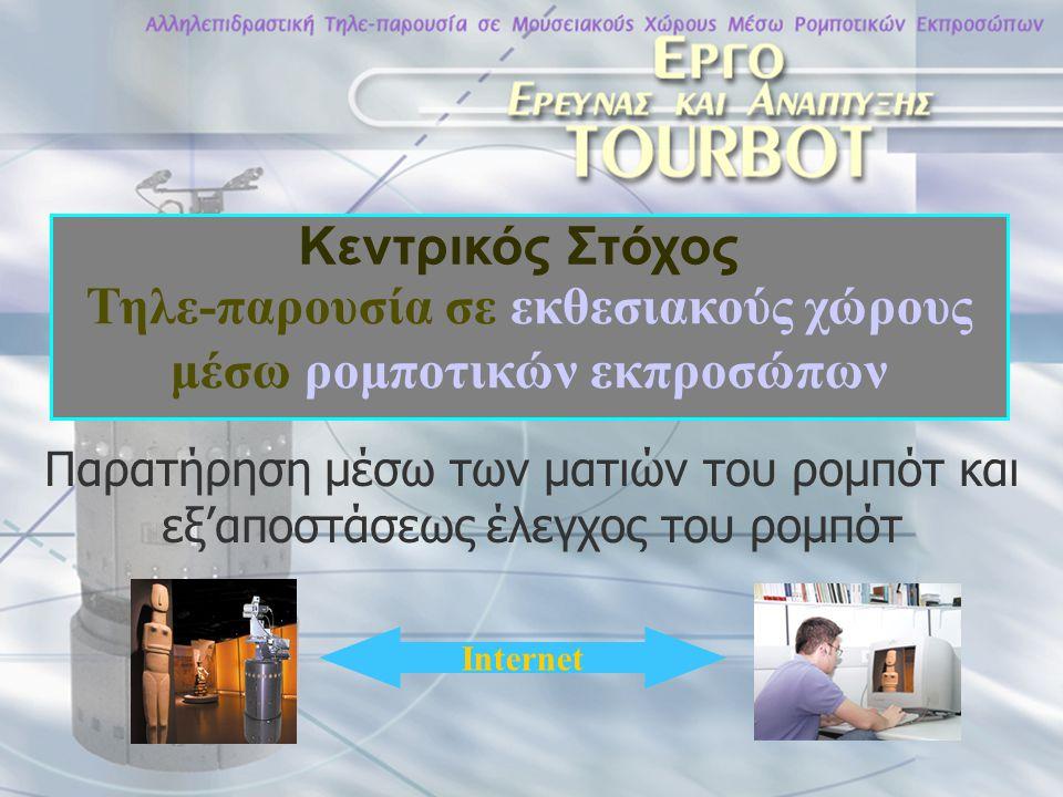 Απομακρυσμένος εκπρόσωπος του χρήστη Βασισμένος σε κινητά ρομποτικά συστήματα, εφοδιασμένα με αισθητήρες και συνδεδεμένα με το διαδίκτυο Παροχή ελέγχου πάνω από το διαδίκτυο Ικανά να πλοηγούνται αυτόνομα και με ασφάλεια Μετάδοση πολυμεσικής πληροφορίας στο χρήστη Βασικά Στοιχεία