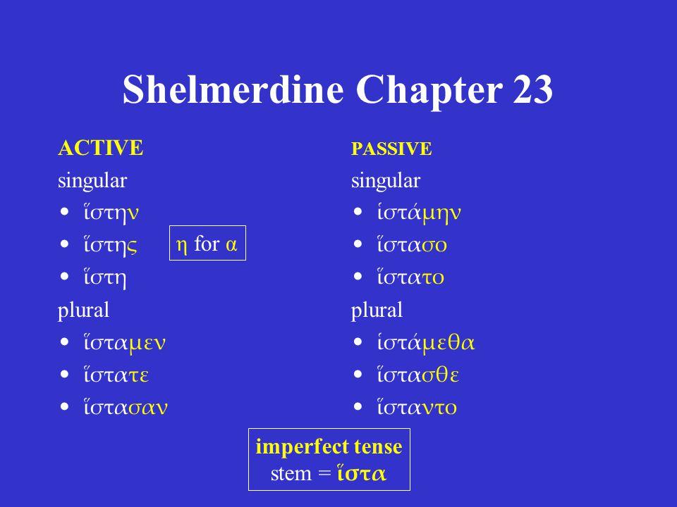 Shelmerdine Chapter 23 ACTIVE singular ἵστην ἵστης ἵστη plural ἵσταμεν ἵστατε ἵστασαν PASSIVE singular ἱστάμην ἵστασο ἵστατο plural ἱστάμεθα ἵστασθε ἵσταντο imperfect tense stem = ἵστα η for α