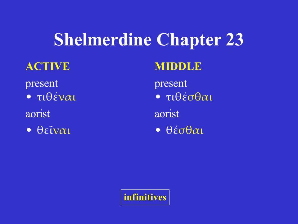 Shelmerdine Chapter 23 ACTIVE present τιθέναι aorist θεῖναι MIDDLE present τιθέσθαι aorist θέσθαι infinitives
