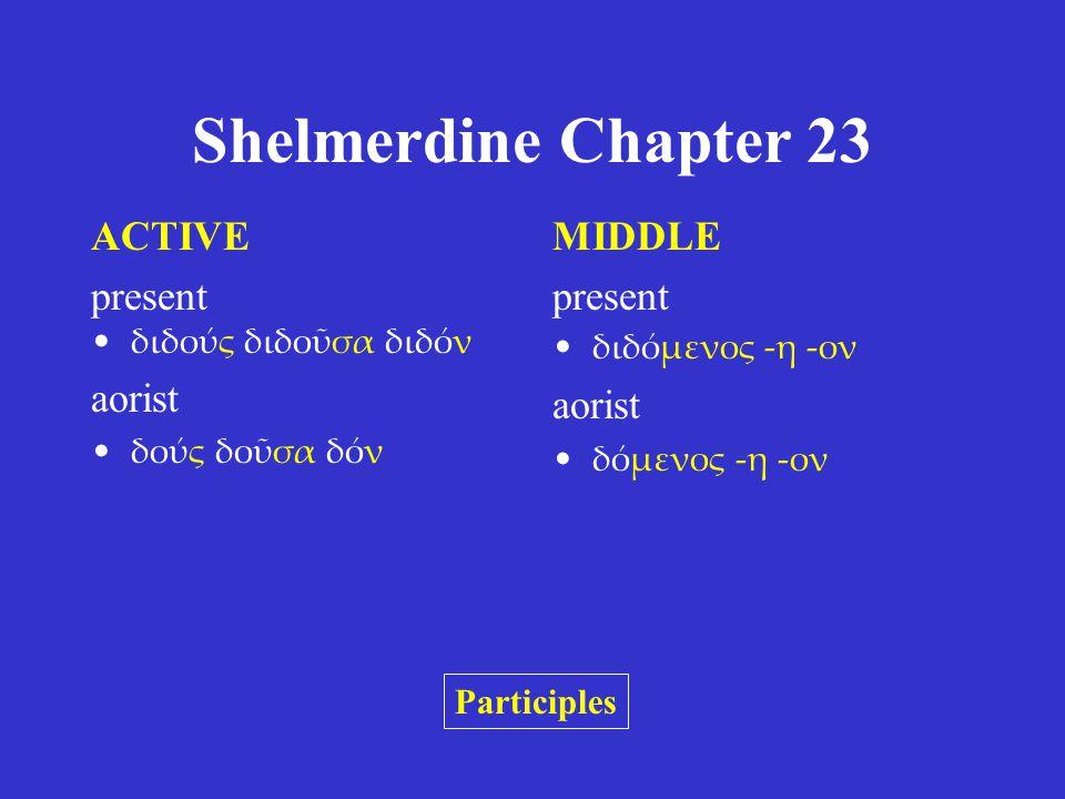 Shelmerdine Chapter 23 ACTIVE present διδούς διδοῦσα διδόν aorist δούς δοῦσα δόν MIDDLE present διδόμενος -η -ον aorist δόμενος -η -ον Participles