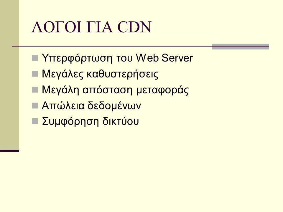 ΛΟΓΟΙ ΓΙΑ CDN Υπερφόρτωση του Web Server Μεγάλες καθυστερήσεις Μεγάλη απόσταση μεταφοράς Απώλεια δεδομένων Συμφόρηση δικτύου