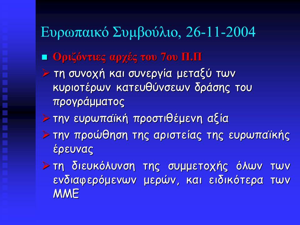 Ευρωπαικό Συμβούλιο, 26-11-2004 Οριζόντιες αρχές του 7ου Π.Π Οριζόντιες αρχές του 7ου Π.Π  τη συνοχή και συνεργία μεταξύ των κυριοτέρων κατευθύνσεων δράσης του προγράμματος  την ευρωπαϊκή προστιθέμενη αξία  την προώθηση της αριστείας της ευρωπαϊκής έρευνας  τη διευκόλυνση της συμμετοχής όλων των ενδιαφερόμενων μερών, και ειδικότερα των ΜΜΕ