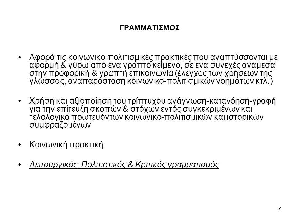 7 ΓΡΑΜΜΑΤΙΣΜΟΣ Αφορά τις κοινωνικο-πολιτισμικές πρακτικές που αναπτύσσονται με αφορμή & γύρω από ένα γραπτό κείμενο, σε ένα συνεχές ανάμεσα στην προφορική & γραπτή επικοινωνία (έλεγχος των χρήσεων της γλώσσας, αναπαράσταση κοινωνικο-πολιτισμικών νοημάτων κτλ.) Χρήση και αξιοποίηση του τρίπτυχου ανάγνωση-κατανόηση-γραφή για την επίτευξη σκοπών & στόχων εντός συγκεκριμένων και τελολογικά πρωτευόντων κοινωνικο-πολιτισμικών και ιστορικών συμφραζομένων Κοινωνική πρακτική Λειτουργικός, Πολιτιστικός & Κριτικός γραμματισμός