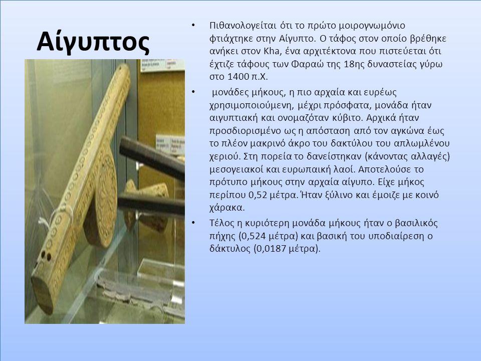 Αίγυπτος Πιθανολογείται ότι το πρώτο μοιρογνωμόνιο φτιάχτηκε στην Αίγυπτο. Ο τάφος στον οποίο βρέθηκε ανήκει στον Kha, ένα αρχιτέκτονα που πιστεύεται