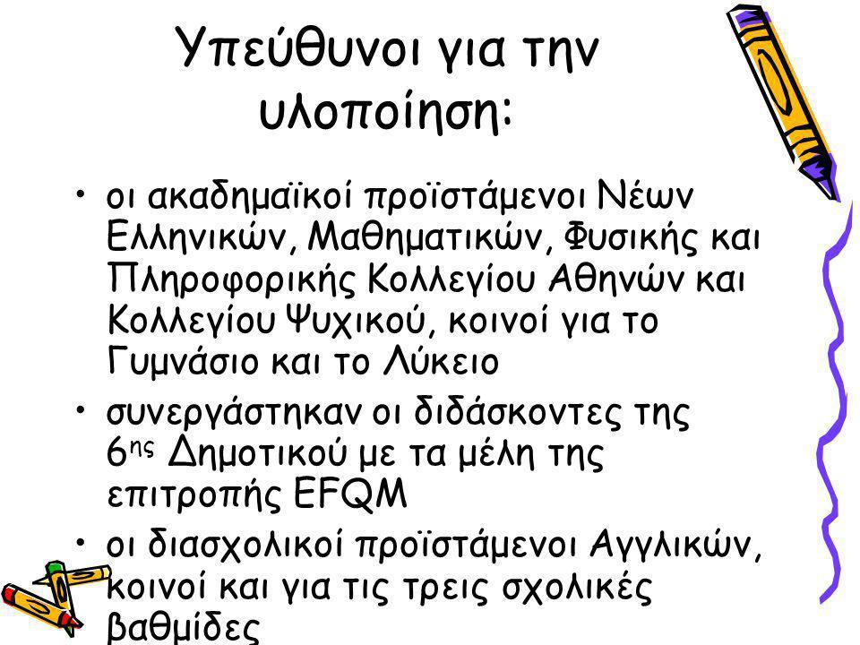 Υπεύθυνοι για την υλοποίηση: οι ακαδημαϊκοί προϊστάμενοι Νέων Ελληνικών, Μαθηματικών, Φυσικής και Πληροφορικής Κολλεγίου Αθηνών και Κολλεγίου Ψυχικού, κοινοί για το Γυμνάσιο και το Λύκειο συνεργάστηκαν οι διδάσκοντες της 6 ης Δημοτικού με τα μέλη της επιτροπής EFQM οι διασχολικοί προϊστάμενοι Αγγλικών, κοινοί και για τις τρεις σχολικές βαθμίδες
