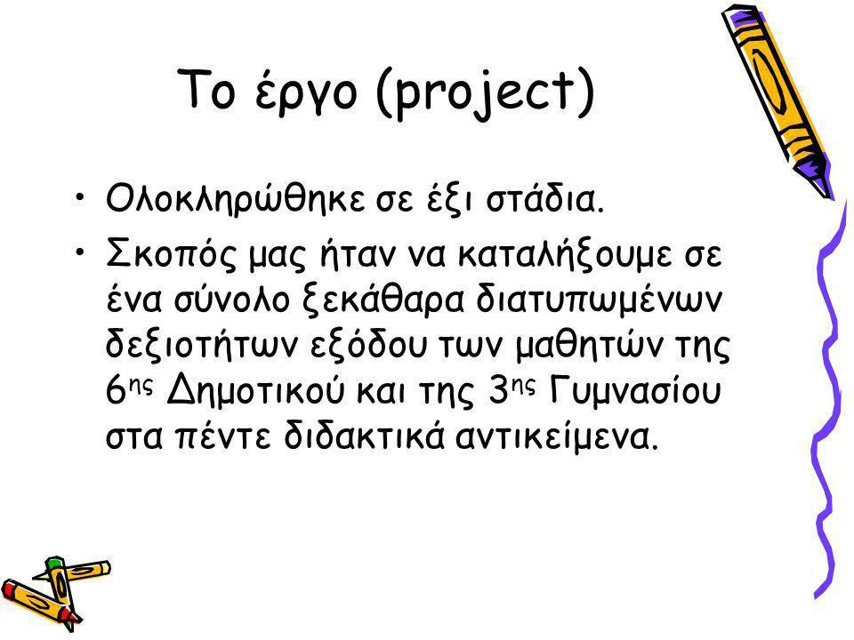 Το έργο (project) Ολοκληρώθηκε σε έξι στάδια.