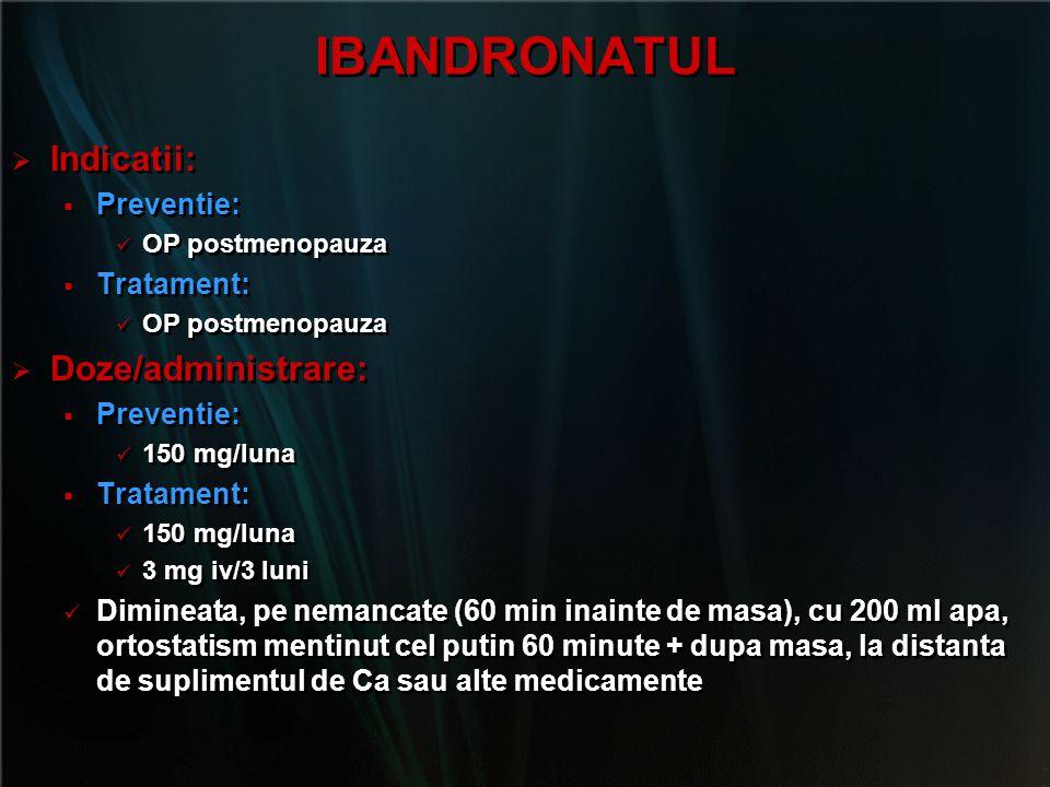 IBANDRONATUL   Indicatii:   Preventie: OP postmenopauza   Tratament: OP postmenopauza   Doze/administrare:   Preventie: 150 mg/luna   Trat