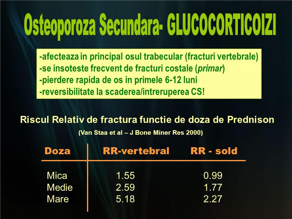 -afecteaza in principal osul trabecular (fracturi vertebrale) -se insoteste frecvent de fracturi costale ( primar ) -pierdere rapida de os in primele