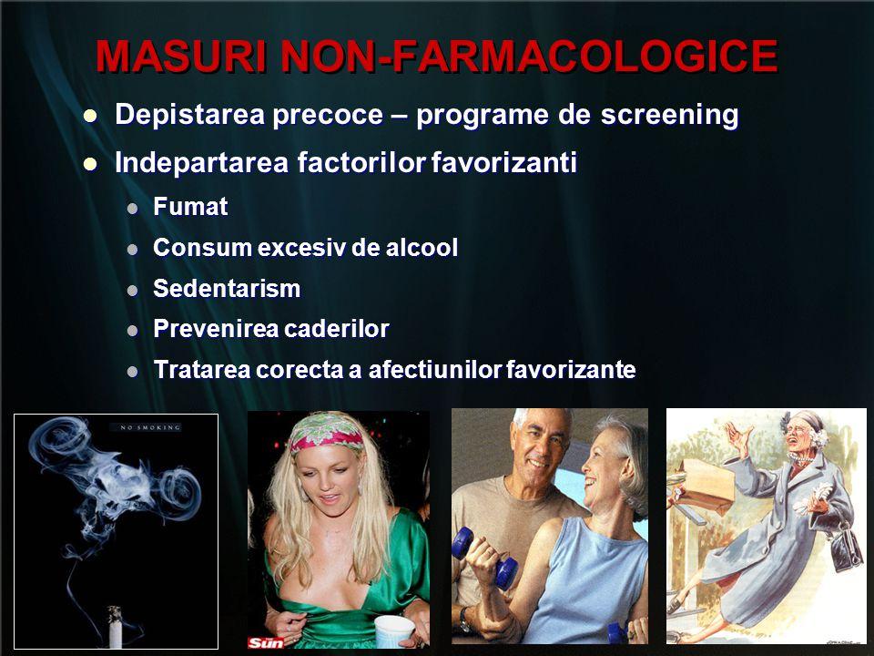 MASURI NON-FARMACOLOGICE   Alimentatie corespunzatoare:   Combaterea excesului proteic   Consum adecvat de lactate   Ca 1200 – 1500 mg/zi (calcemie, calciurie)   Vitamina D 400 – 800 UI/zi (25 OH Vit D: 30-60ng/ml)   Esenţiale pentru prevenţie şi tratament   Potenţează efectul terapiei farmacologice   Pot preveni FxV la pacienţi cu risc cresc 1   Alimentatie corespunzatoare:   Combaterea excesului proteic   Consum adecvat de lactate   Ca 1200 – 1500 mg/zi (calcemie, calciurie)   Vitamina D 400 – 800 UI/zi (25 OH Vit D: 30-60ng/ml)   Esenţiale pentru prevenţie şi tratament   Potenţează efectul terapiei farmacologice   Pot preveni FxV la pacienţi cu risc cresc 1 Recker RR et al J Bone Miner Res.