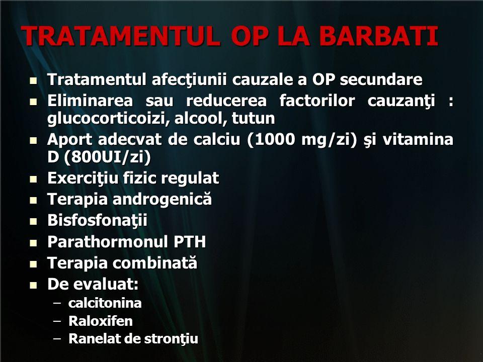 TRATAMENTUL OP LA BARBATI Tratamentul afecţiunii cauzale a OP secundare Tratamentul afecţiunii cauzale a OP secundare Eliminarea sau reducerea factori
