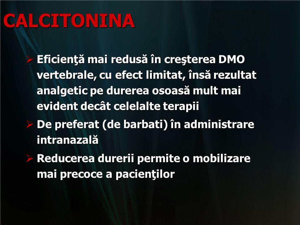 CALCITONINA  Eficienţă mai redusă în creşterea DMO vertebrale, cu efect limitat, însă rezultat analgetic pe durerea osoasă mult mai evident decât cel