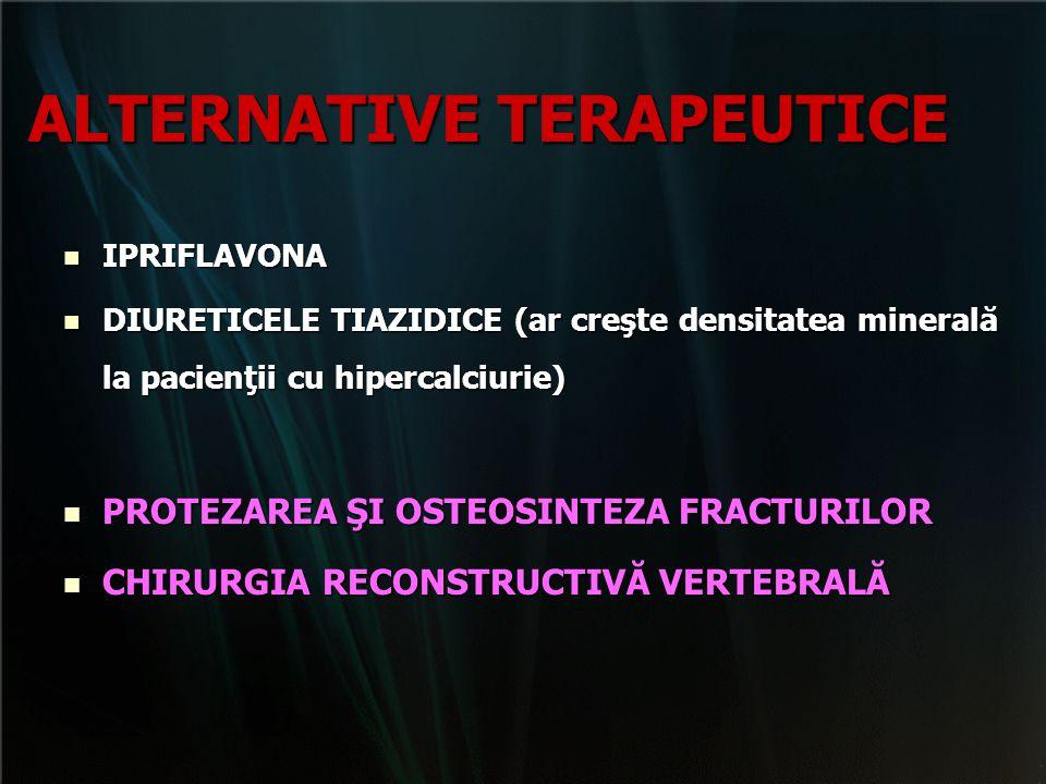 ALTERNATIVE TERAPEUTICE IPRIFLAVONA IPRIFLAVONA DIURETICELE TIAZIDICE (ar creşte densitatea minerală la pacienţii cu hipercalciurie) DIURETICELE TIAZI