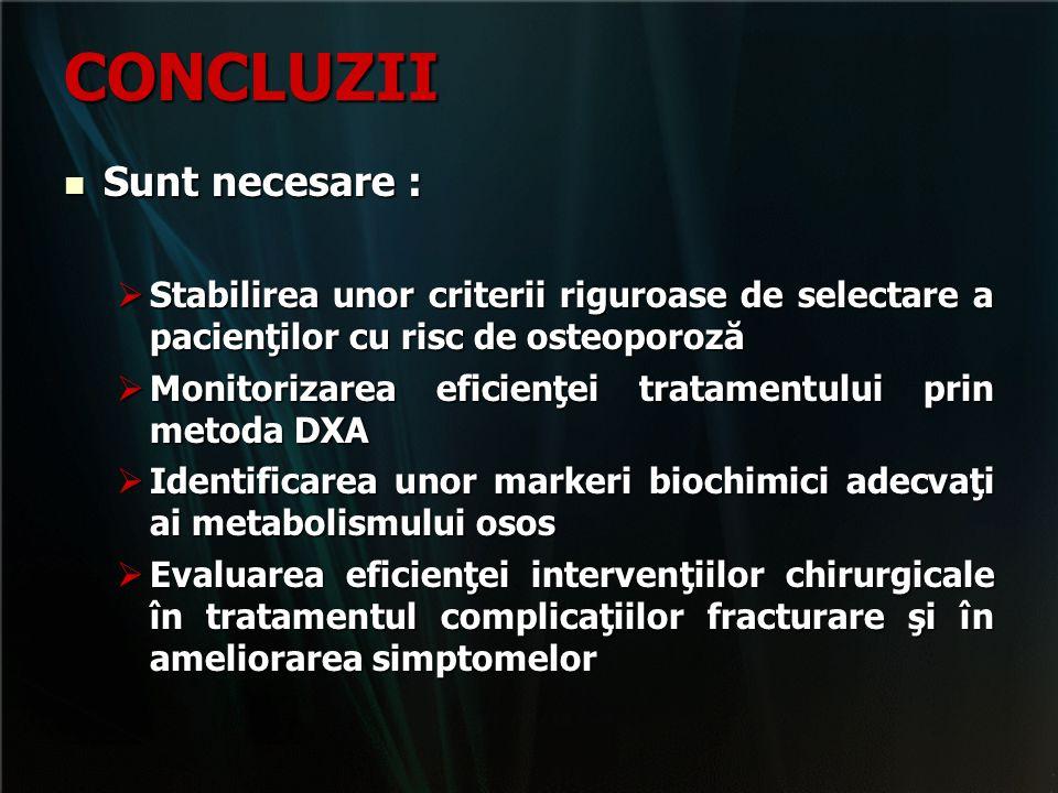 CONCLUZII Sunt necesare : Sunt necesare :  Stabilirea unor criterii riguroase de selectare a pacienţilor cu risc de osteoporoză  Monitorizarea efici