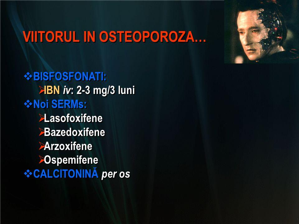 VIITORUL IN OSTEOPOROZA…  BISFOSFONATI:  IBN iv : 2-3 mg/3 luni  Noi SERMs:  Lasofoxifene  Bazedoxifene  Arzoxifene  Ospemifene  CALCITONINĂ p