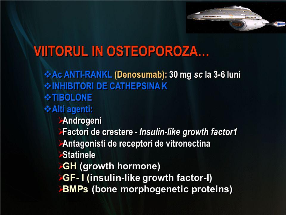  Ac ANTI-RANKL (Denosumab): 30 mg sc la 3-6 luni  INHIBITORI DE CATHEPSINA K  TIBOLONE  Alti agenti:  Androgeni  Factori de crestere - Insulin-l