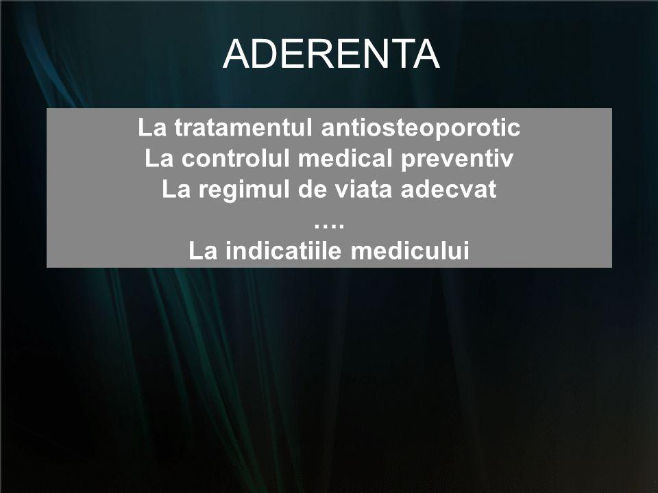 La tratamentul antiosteoporotic La controlul medical preventiv La regimul de viata adecvat …. La indicatiile medicului ADERENTA