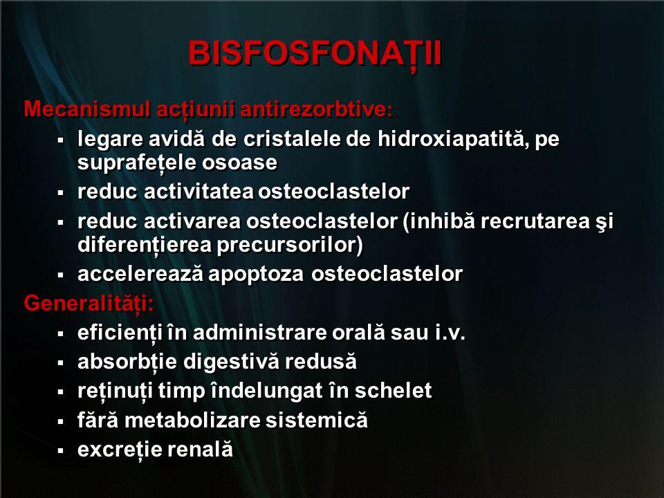 RANELATUL DE STRONŢIU  Reducerea riscului fracturar:  Fx vertebrală: 41% (3 ani)  Fx nonvertebrale: 15 (5 ani)  Fx de şold: numai în analize post-hoc  Reacţii adverse:  Greaţă  Diaree  Contraindicaţii:  Tromboembolism venos  Sarcina  Observaţii:  NU este aprobat de FDA