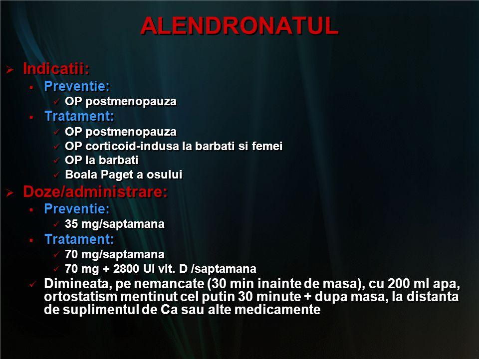 ALENDRONATUL   Indicatii:   Preventie: OP postmenopauza   Tratament: OP postmenopauza OP corticoid-indusa la barbati si femei OP la barbati Boal
