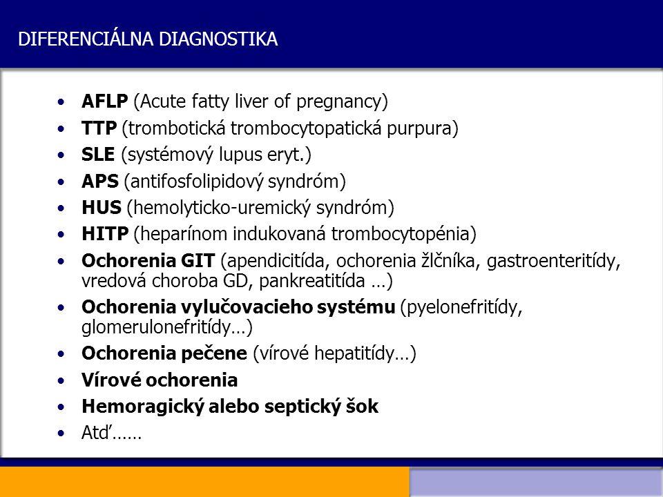 DIFERENCIÁLNA DIAGNOSTIKA AFLP (Acute fatty liver of pregnancy) TTP (trombotická trombocytopatická purpura) SLE (systémový lupus eryt.) APS (antifosfo