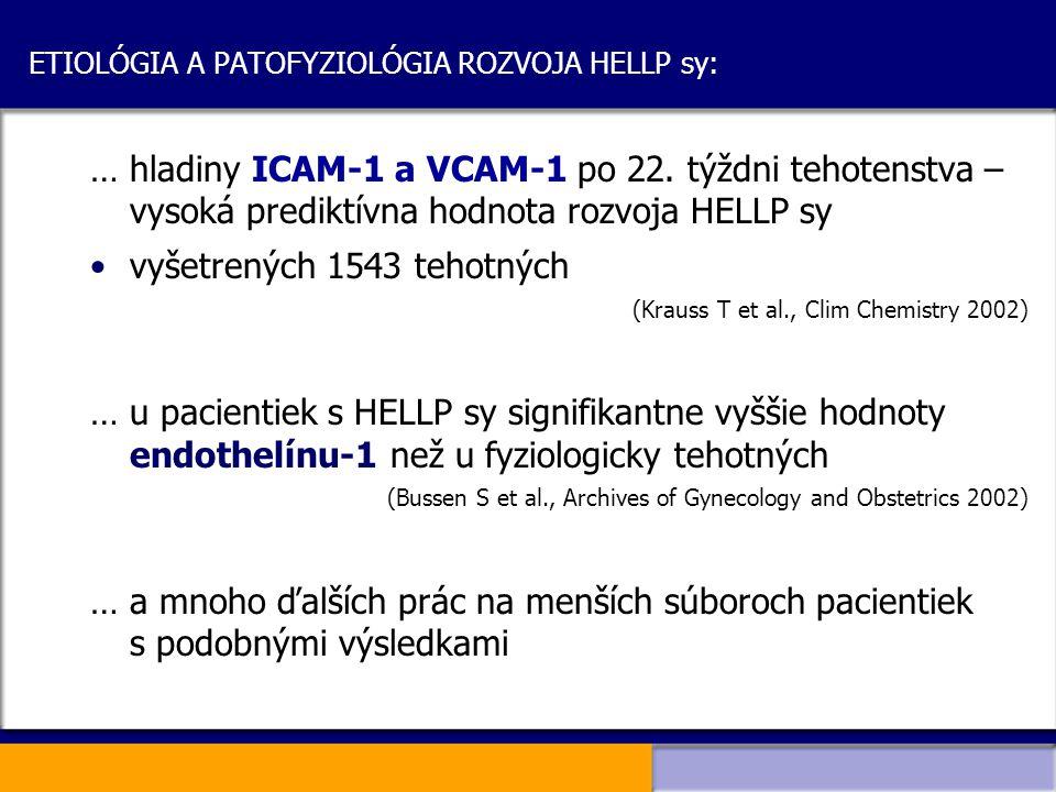 ETIOLÓGIA A PATOFYZIOLÓGIA ROZVOJA HELLP sy: …hladiny ICAM-1 a VCAM-1 po 22. týždni tehotenstva – vysoká prediktívna hodnota rozvoja HELLP sy vyšetren
