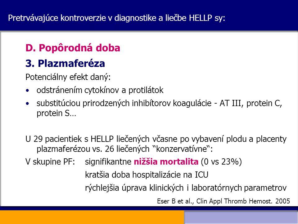 Pretrvávajúce kontroverzie v diagnostike a liečbe HELLP sy: D. Popôrodná doba 3. Plazmaferéza Potenciálny efekt daný: odstránením cytokínov a protilát