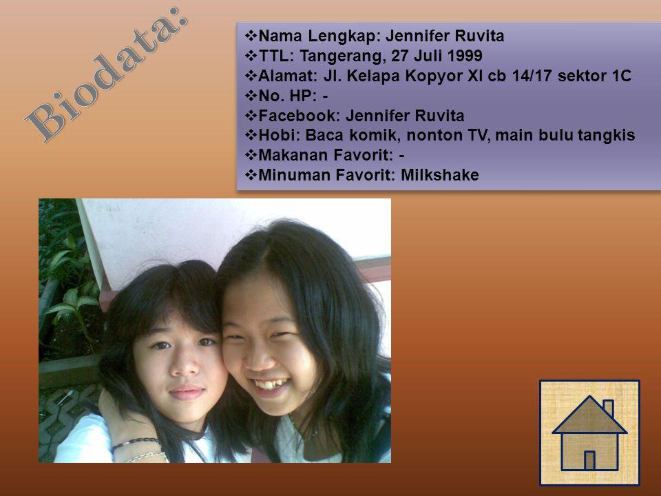  Nama Lengkap: Jennifer Ruvita  TTL: Tangerang, 27 Juli 1999  Alamat: Jl.