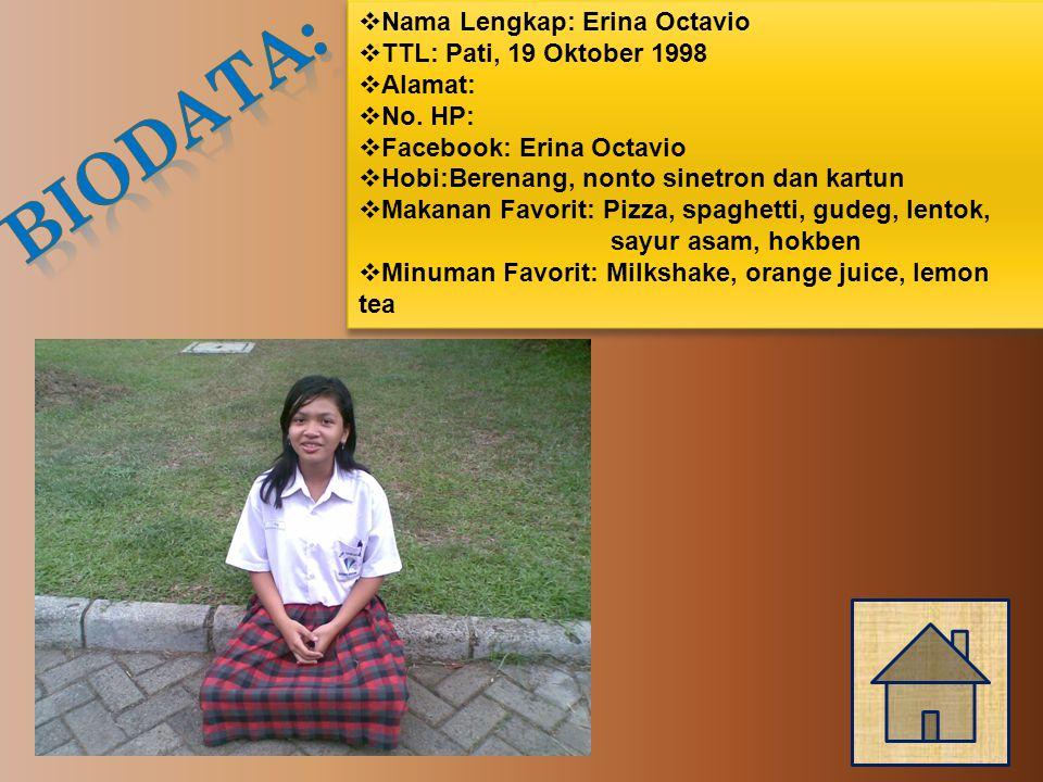  Nama Lengkap: Erina Octavio  TTL: Pati, 19 Oktober 1998  Alamat:  No.