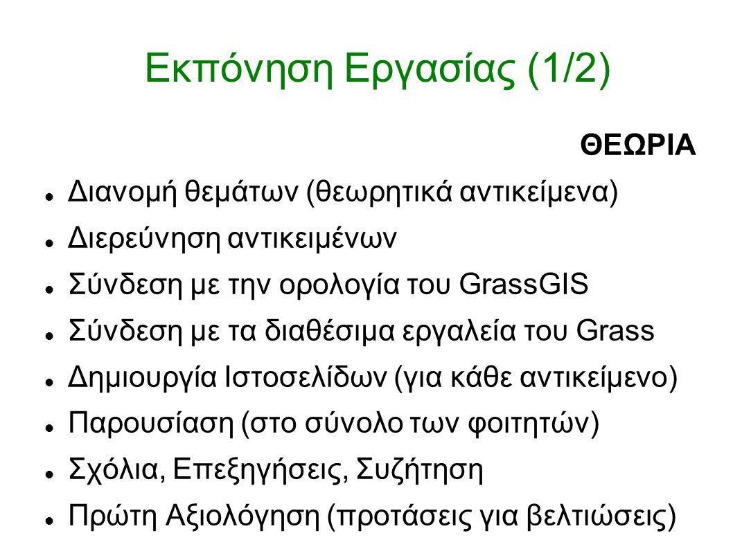 Εκπόνηση Εργασίας (1/2) ΘΕΩΡΙΑ Διανομή θεμάτων (θεωρητικά αντικείμενα) Διερεύνηση αντικειμένων Σύνδεση με την ορολογία του GrassGIS Σύνδεση με τα δι