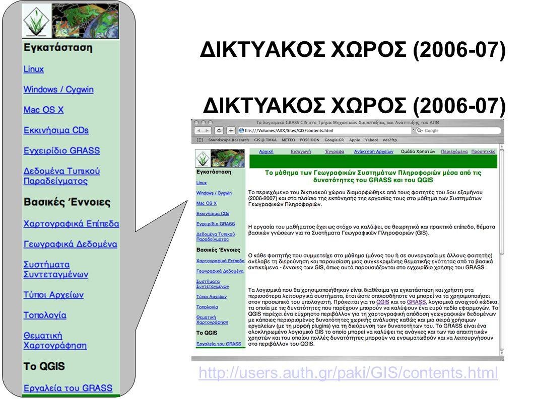ΔΙΚΤΥΑΚΟΣ ΧΩΡΟΣ (2006-07) http://users.auth.gr/paki/GIS/contents.html