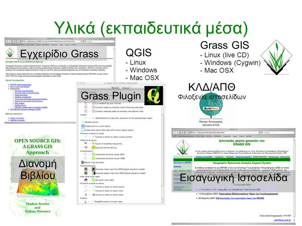 Υλικά (εκπαιδευτικά μέσα) Εγχειρίδιο Grass Διανομή Βιβλίου Grass Plugin Grass GIS - Linux (live CD) - Windows (Cygwin) - Mac OSX QGIS - Linux - Win