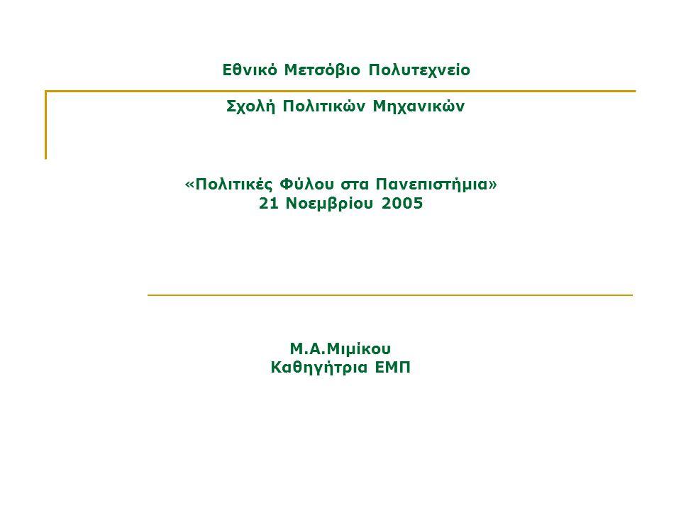 Εθνικό Μετσόβιο Πολυτεχνείο Σχολή Πολιτικών Μηχανικών Μ.Α.Μιμίκου Καθηγήτρια ΕΜΠ « Πολιτικές Φύλου στα Πανεπιστήμια » 21 Νοεμβρίου 2005