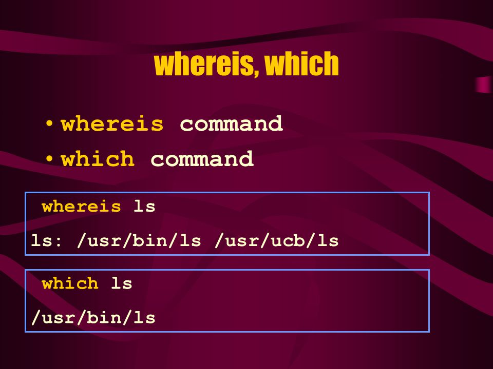whereis, which whereis command which command whereis ls ls: /usr/bin/ls /usr/ucb/ls which ls /usr/bin/ls