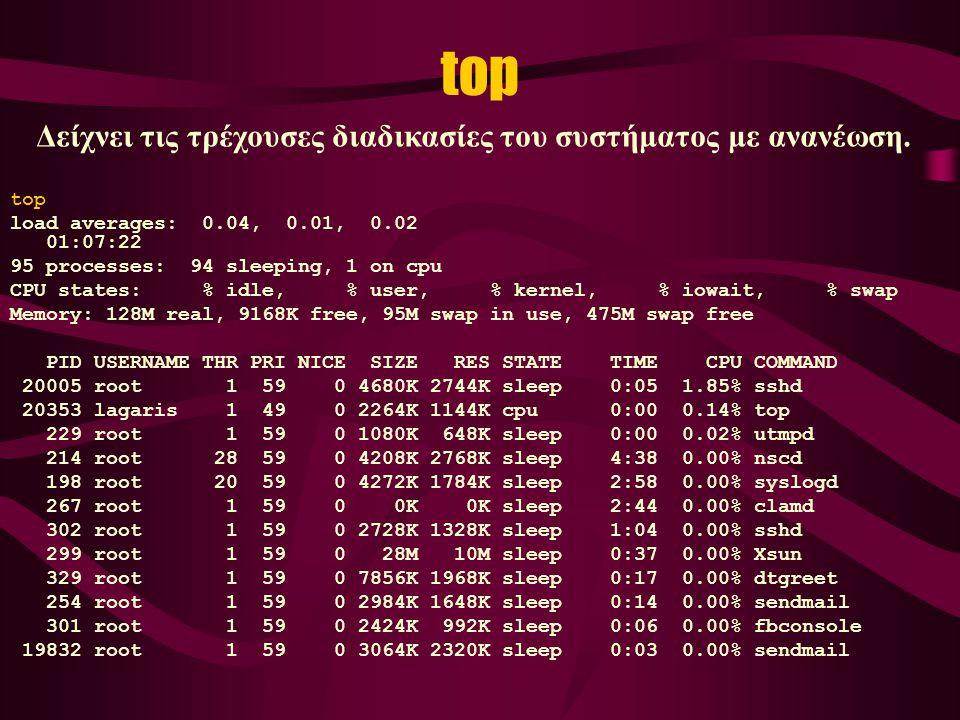 top load averages: 0.04, 0.01, 0.02 01:07:22 95 processes: 94 sleeping, 1 on cpu CPU states: % idle, % user, % kernel, % iowait, % swap Memory: 128M real, 9168K free, 95M swap in use, 475M swap free PID USERNAME THR PRI NICE SIZE RES STATE TIME CPU COMMAND 20005 root 1 59 0 4680K 2744K sleep 0:05 1.85% sshd 20353 lagaris 1 49 0 2264K 1144K cpu 0:00 0.14% top 229 root 1 59 0 1080K 648K sleep 0:00 0.02% utmpd 214 root 28 59 0 4208K 2768K sleep 4:38 0.00% nscd 198 root 20 59 0 4272K 1784K sleep 2:58 0.00% syslogd 267 root 1 59 0 0K 0K sleep 2:44 0.00% clamd 302 root 1 59 0 2728K 1328K sleep 1:04 0.00% sshd 299 root 1 59 0 28M 10M sleep 0:37 0.00% Xsun 329 root 1 59 0 7856K 1968K sleep 0:17 0.00% dtgreet 254 root 1 59 0 2984K 1648K sleep 0:14 0.00% sendmail 301 root 1 59 0 2424K 992K sleep 0:06 0.00% fbconsole 19832 root 1 59 0 3064K 2320K sleep 0:03 0.00% sendmail Δείχνει τις τρέχουσες διαδικασίες του συστήματος με ανανέωση.