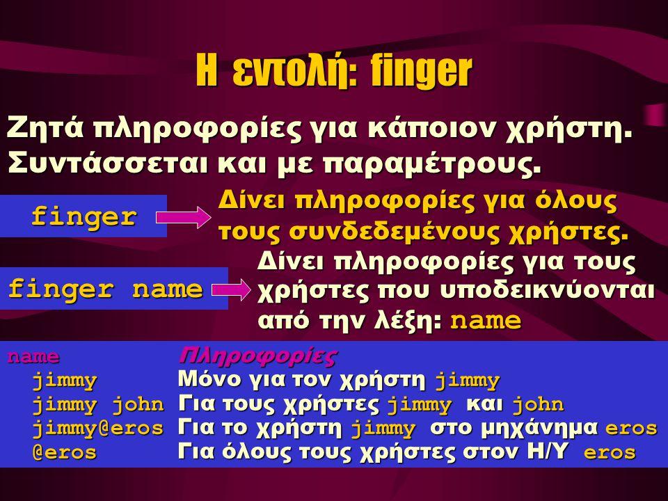 Η εντολή: finger Ζητά πληροφορίες για κάποιον χρήστη.