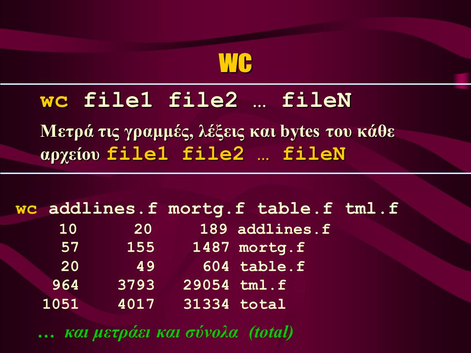 wc wc file1 file2 … fileN Μετρά τις γραμμές, λέξεις και bytes του κάθε αρχείου file1 file2 … fileN wc addlines.f mortg.f table.f tml.f 10 20 189 addlines.f 57 155 1487 mortg.f 20 49 604 table.f 964 3793 29054 tml.f 1051 4017 31334 total … και μετράει και σύνολα (total)