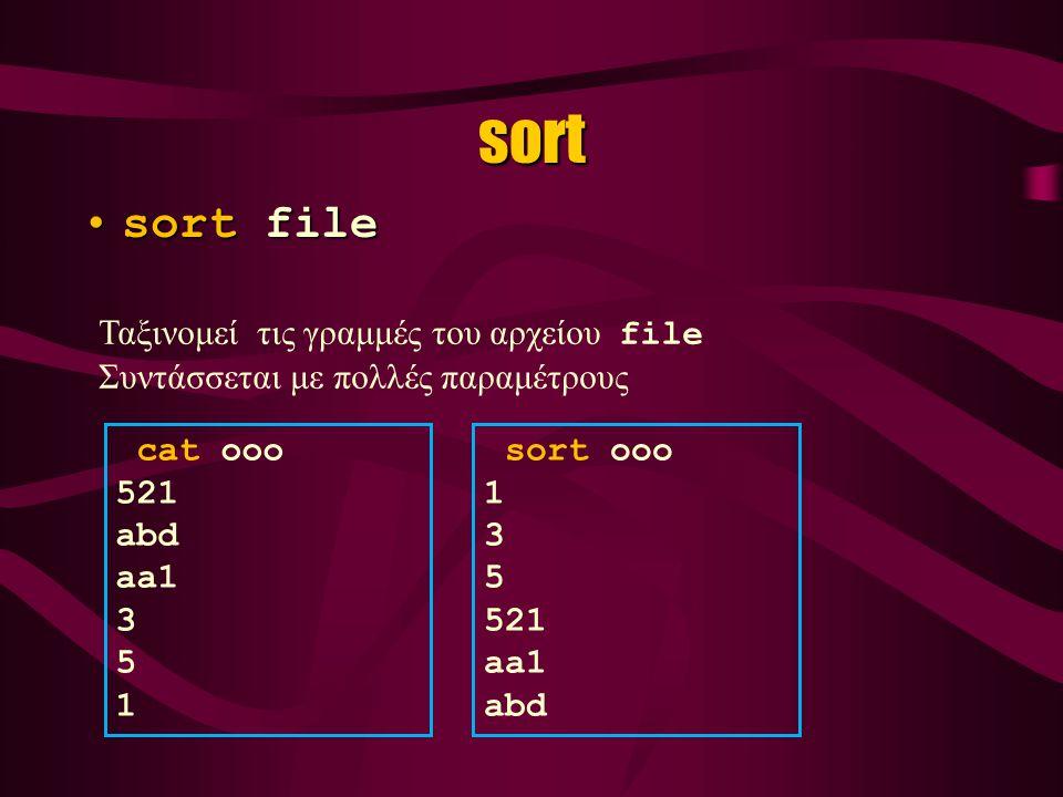 ssh ssh –l lagaris zeus.cs.uoi.gr ssh lagaris@zeus.cs.uoi.gr zeus.cs.uoi.gr στον λογαριασμό του χρήστη lagaris Ισοδύναμες εντολές που από το τοπικό UNIX, ο χρήστης προσπαθεί να συνδεθεί σε ένα άλλο UNIX σύστημα που φιλοξενείται στον Η/Υ zeus.cs.uoi.gr στον λογαριασμό του χρήστη lagaris Θα ζητηθεί password για τον user lagaris ( όπως και στην διαδικασία login)