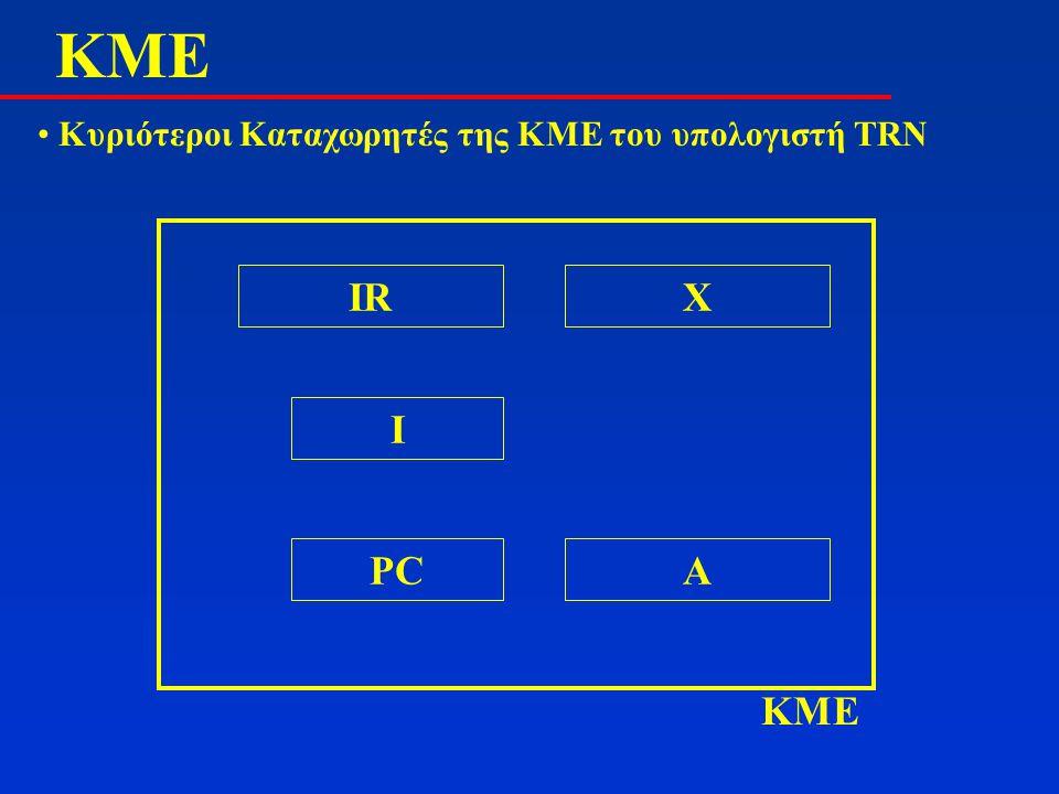 ΚMΕΚMΕ Κυριότεροι Καταχωρητές της ΚΜΕ του υπολογιστή TRN KME APC I IRX