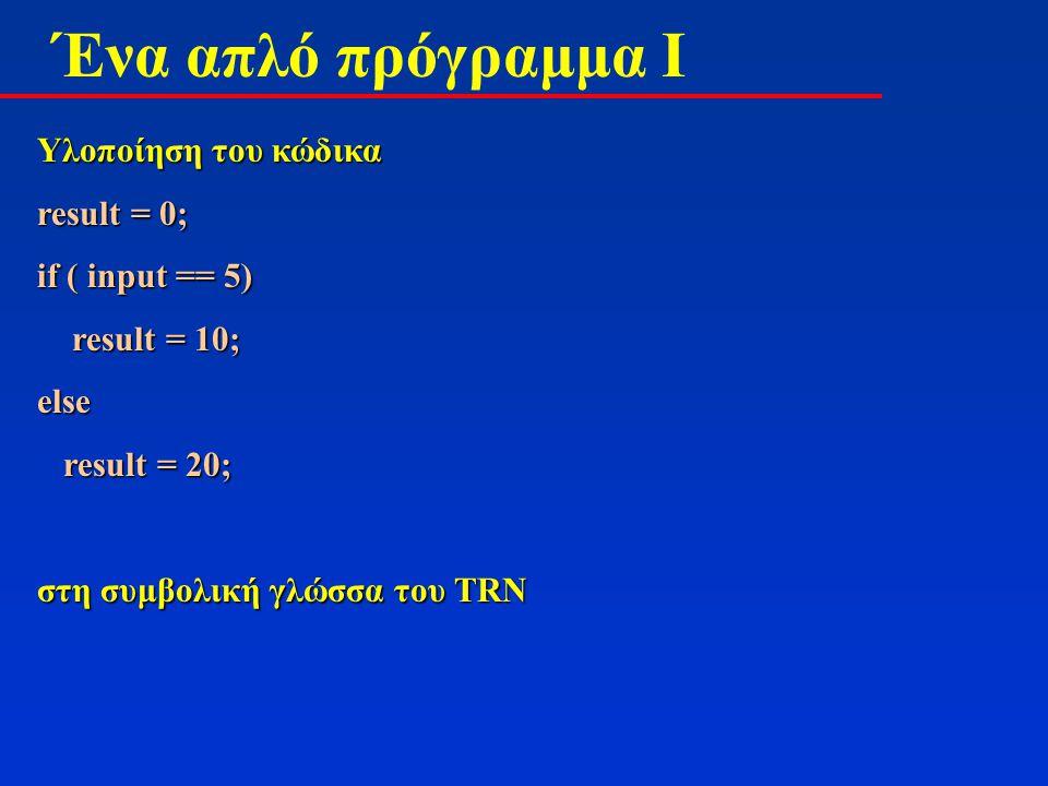 Ένα απλό πρόγραμμα I Υλοποίηση του κώδικα result = 0; if ( input == 5) result = 10; result = 10;else result = 20; result = 20; στη συμβολική γλώσσα του TRN