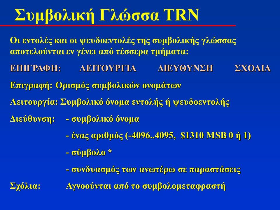 Συμβολική Γλώσσα TRN Είδη εντολών του TRN (32 εντολές): Εντολές μεταφοράς Εντολές μεταφοράς Αριθμητικές – λογικές εντολές Αριθμητικές – λογικές εντολές Εντολές άλματος Εντολές άλματος Εντολές ολίσθησης Εντολές ολίσθησης Εντολές εισόδου – εξόδου Εντολές εισόδου – εξόδου Άλλες εντολές Άλλες εντολές