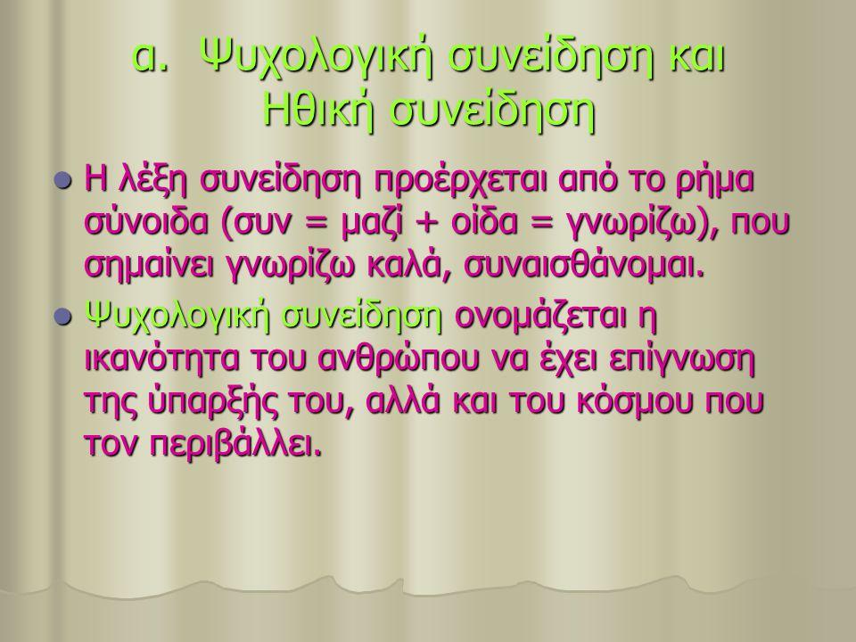 α. Ψυχολογική συνείδηση και Ηθική συνείδηση Η λέξη συνείδηση προέρχεται από το ρήμα σύνοιδα (συν = μαζί + οίδα = γνωρίζω), που σημαίνει γνωρίζω καλά,