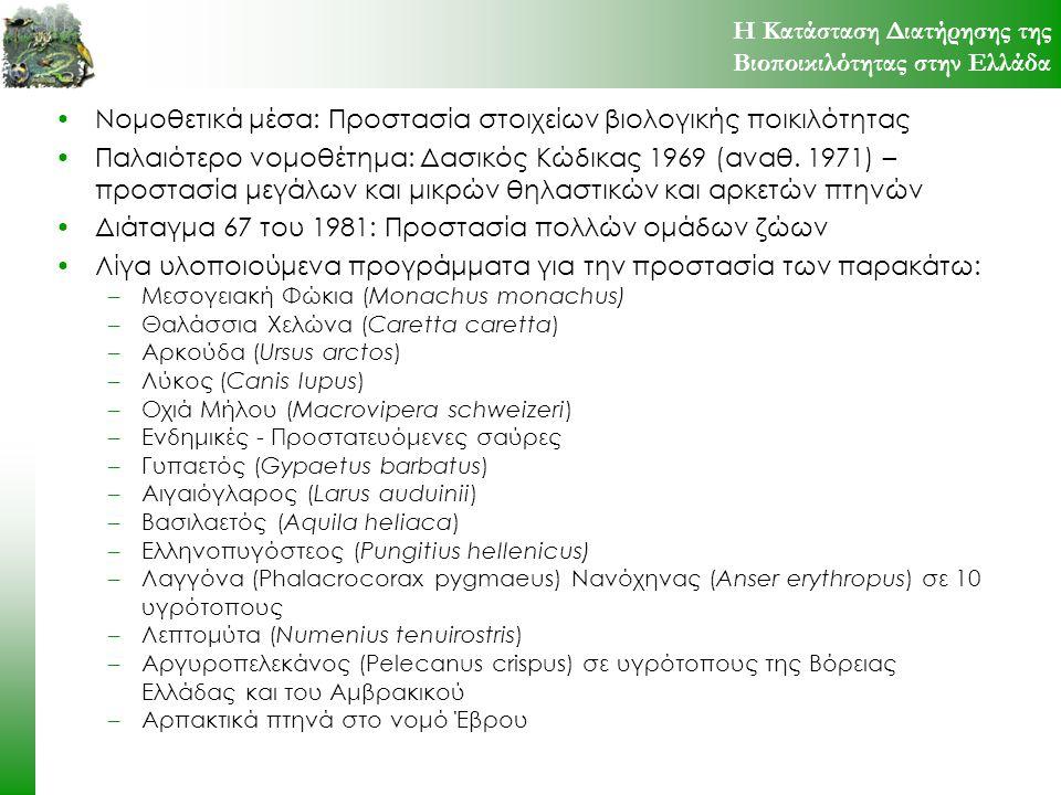 Νομοθετικά μέσα: Προστασία στοιχείων βιολογικής ποικιλότητας Παλαιότερο νομοθέτημα: Δασικός Κώδικας 1969 (αναθ. 1971) – προστασία μεγάλων και μικρών θ