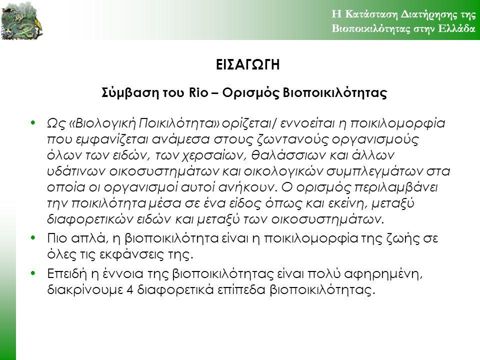 ΑΠΕΙΛΕΣ ΓΙΑ ΤΗ ΒΙΟΠΟΙΚΙΛΟΤΗΤΑ ΣΤΗΝ ΕΛΛΑΔΑ Η εντατικοποίηση της γεωργίας στην Ελλάδα οδήγησε στην κατακόρυφη αύξηση της χρήσης χημικών ουσιών (φυτοφάρμακα, λιπάσματα), που διοχετεύονται στα νερά και το έδαφος προκαλώντας ευτροφισμό, φυσιολογικές αλλοιώσεις στους οργανισμούς, μειωμένη αντίσταση στις ασθένειες.