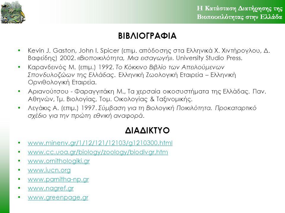 ΒΙΒΛΙΟΓΡΑΦΙΑ Kevin J. Gaston, John I. Spicer (επιμ. απόδοσης στα Ελληνικά Χ. Χιντήρογλου, Δ. Βαφείδης) 2002. «Βιοποικιλότητα, Μια εισαγωγή». Universit