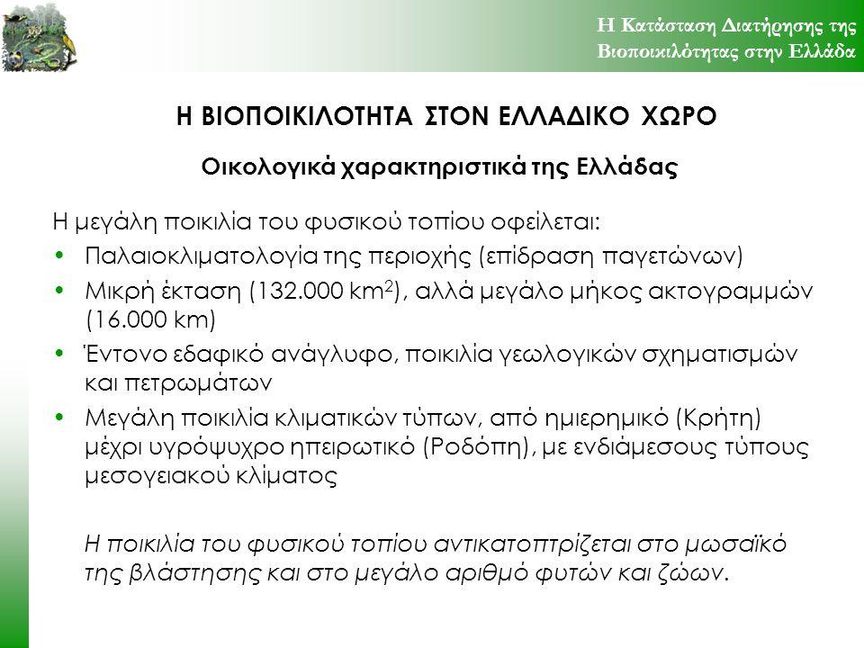 Η ΒΙΟΠΟΙΚΙΛΟΤΗΤΑ ΣΤΟΝ ΕΛΛΑΔΙΚΟ ΧΩΡΟ Συνολικός αριθμός των γνωστών ειδών και υποειδών της ελληνικής πανίδας, ο ενδημισμός, τα προστατευόμενα (σε παρένθεση το % του συνόλου των ειδών της ομάδας) και τα επιπλέον απειλούμενα που δεν προστατεύονται Η Κατάσταση Διατήρησης της Βιοποικιλότητας στην Ελλάδα Πανιδική Ποικιλότητα TAXAΕΙΔΗ+ΥΠΟΕΙΔΗΕΝΔ.