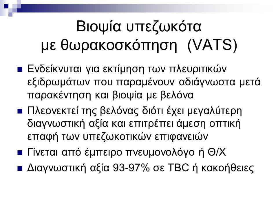 Βιοψία υπεζωκότα με θωρακοσκόπηση (VATS) Ενδείκνυται για εκτίμηση των πλευριτικών εξιδρωμάτων που παραμένουν αδιάγνωστα μετά παρακέντηση και βιοψία με βελόνα Πλεονεκτεί της βελόνας διότι έχει μεγαλύτερη διαγνωστική αξία και επιτρέπει άμεση οπτική επαφή των υπεζωκοτικών επιφανειών Γίνεται από έμπειρο πνευμονολόγο ή Θ/Χ Διαγνωστική αξία 93-97% σε TBC ή κακοήθειες