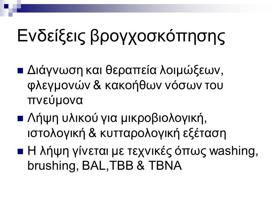 Ενδείξεις βρογχοσκόπησης Διάγνωση και θεραπεία λοιμώξεων, φλεγμονών & κακοήθων νόσων του πνεύμονα Λήψη υλικού για μικροβιολογική, ιστολογική & κυτταρολογική εξέταση Η λήψη γίνεται με τεχνικές όπως washing, brushing, BAL,TBB & TBNA