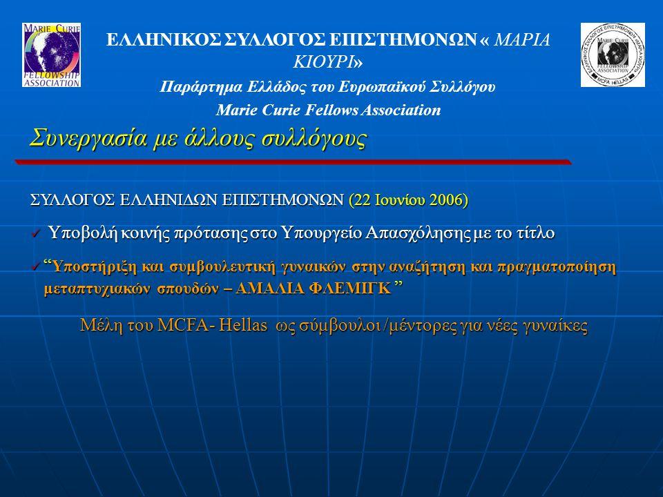 ΕΛΛΗΝΙΚΟΣ ΣΥΛΛΟΓΟΣ ΕΠΙΣΤΗΜΟΝΩΝ « ΜΑΡΙΑ ΚΙΟΥΡΙ» Παράρτημα Ελλάδος του Ευρωπαϊκού Συλλόγου Marie Curie Fellows Association Συνεργασία με άλλους συλλόγους ΣΥΛΛΟΓΟΣ ΕΛΛΗΝΙΔΩΝ ΕΠΙΣΤΗΜΟΝΩΝ (22 Ιουνίου 2006) Υποβολή κοινής πρότασης στο Υπουργείο Απασχόλησης με το τίτλο Υποβολή κοινής πρότασης στο Υπουργείο Απασχόλησης με το τίτλο Υποστήριξη και συμβουλευτική γυναικών στην αναζήτηση και πραγματοποίηση μεταπτυχιακών σπουδών – ΑΜΑΛΙΑ ΦΛΕΜΙΓΚ Υποστήριξη και συμβουλευτική γυναικών στην αναζήτηση και πραγματοποίηση μεταπτυχιακών σπουδών – ΑΜΑΛΙΑ ΦΛΕΜΙΓΚ Μέλη του MCFA- Hellas ως σύμβουλοι /μέντορες για νέες γυναίκες