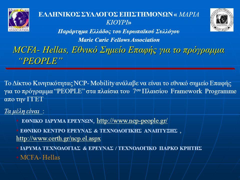 ΕΛΛΗΝΙΚΟΣ ΣΥΛΛΟΓΟΣ ΕΠΙΣΤΗΜΟΝΩΝ « ΜΑΡΙΑ ΚΙΟΥΡΙ» Παράρτημα Ελλάδος του Ευρωπαϊκού Συλλόγου Marie Curie Fellows Association Το Δίκτυο Κινητικότητας NCP- Mobility ανάλαβε να είναι το εθνικό σημείο Επαφής για το πρόγραμμα PEOPLE στα πλαίσια του 7 ου Πλαισίου Framework Programme απο την ΓΓΕΤ Τα μέλη είναι : ΕΘΝΙΚΟ ΙΔΡΥΜΑ ΕΡΕΥΝΩΝ, http://www.ncp-people.gr/http://www.ncp-people.gr/ ΕΘΝΙΚΟ ΚΕΝΤΡΟ ΕΡΕΥΝΑΣ & ΤΕΧΝΟΛΟΓΙΚΗΣ ΑΝΑΠΤΥΞΗΣ, http://www.certh.gr/ncp.el.aspx http://www.certh.gr/ncp.el.aspx ΙΔΡΥΜΑ ΤΕΧΝΟΛΟΓΙΑΣ & ΕΡΕΥΝΑΣ / ΤΕΧΝΟΛΟΓΙΚΟ ΠΑΡΚΟ ΚΡΗΤΗΣ MCFA- Hellas MCFA- Hellas, Εθνικό Σημείο Επαφής για το πρόγραμμα PEOPLE