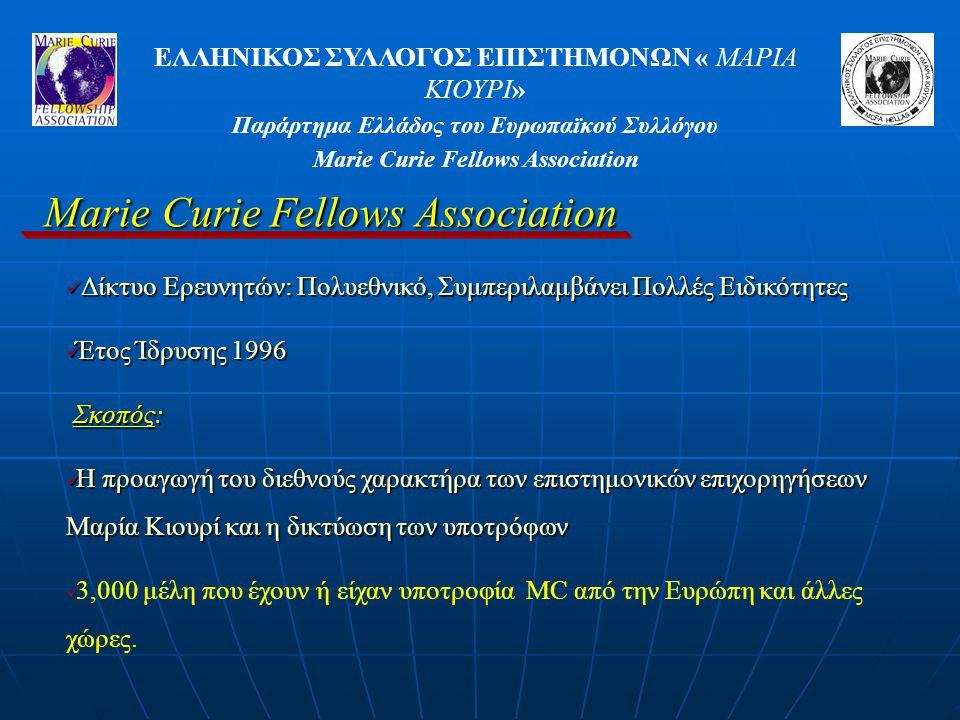 ΕΛΛΗΝΙΚΟΣ ΣΥΛΛΟΓΟΣ ΕΠΙΣΤΗΜΟΝΩΝ « ΜΑΡΙΑ ΚΙΟΥΡΙ» Παράρτημα Ελλάδος του Ευρωπαϊκού Συλλόγου Marie Curie Fellows Association Δίκτυο Ερευνητών: Πολυεθνικό, Συμπεριλαμβάνει Πολλές Ειδικότητες Δίκτυο Ερευνητών: Πολυεθνικό, Συμπεριλαμβάνει Πολλές Ειδικότητες Έτος Ίδρυσης 1996 Έτος Ίδρυσης 1996 Σκοπός: Η προαγωγή του διεθνούς χαρακτήρα των επιστημονικών επιχορηγήσεων Μαρία Κιουρί και η δικτύωση των υποτρόφων Η προαγωγή του διεθνούς χαρακτήρα των επιστημονικών επιχορηγήσεων Μαρία Κιουρί και η δικτύωση των υποτρόφων 3,000 μέλη που έχουν ή είχαν υποτροφία MC από την Ευρώπη και άλλες χώρες.