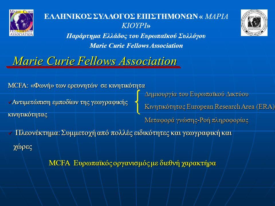 ΕΛΛΗΝΙΚΟΣ ΣΥΛΛΟΓΟΣ ΕΠΙΣΤΗΜΟΝΩΝ « ΜΑΡΙΑ ΚΙΟΥΡΙ» Παράρτημα Ελλάδος του Ευρωπαϊκού Συλλόγου Marie Curie Fellows Association MCFA: «Φωνή» των ερευνητών σε κινητικότητα Αντιμετώπιση εμποδίων της γεωγραφικής κινητικότητας Αντιμετώπιση εμποδίων της γεωγραφικής κινητικότητας Δημιουργία του Ευρωπαϊκού Δικτύου Κινητικότητας European Research Area (ERA) Μεταφορά γνώσης-Ροή πληροφορίας Πλεονέκτημα: Συμμετοχή από πολλές ειδικότητες και γεωγραφική και χώρες Πλεονέκτημα: Συμμετοχή από πολλές ειδικότητες και γεωγραφική και χώρες MCFA Ευρωπαϊκός οργανισμός με διεθνή χαρακτήρα